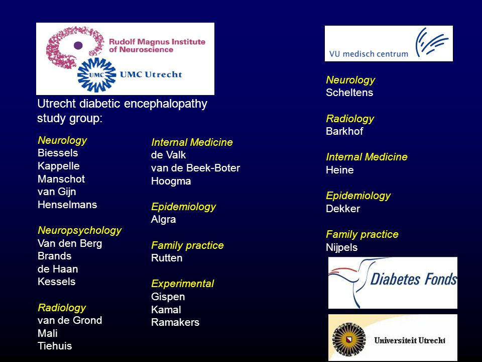 Utrecht diabetic encephalopathy study group: