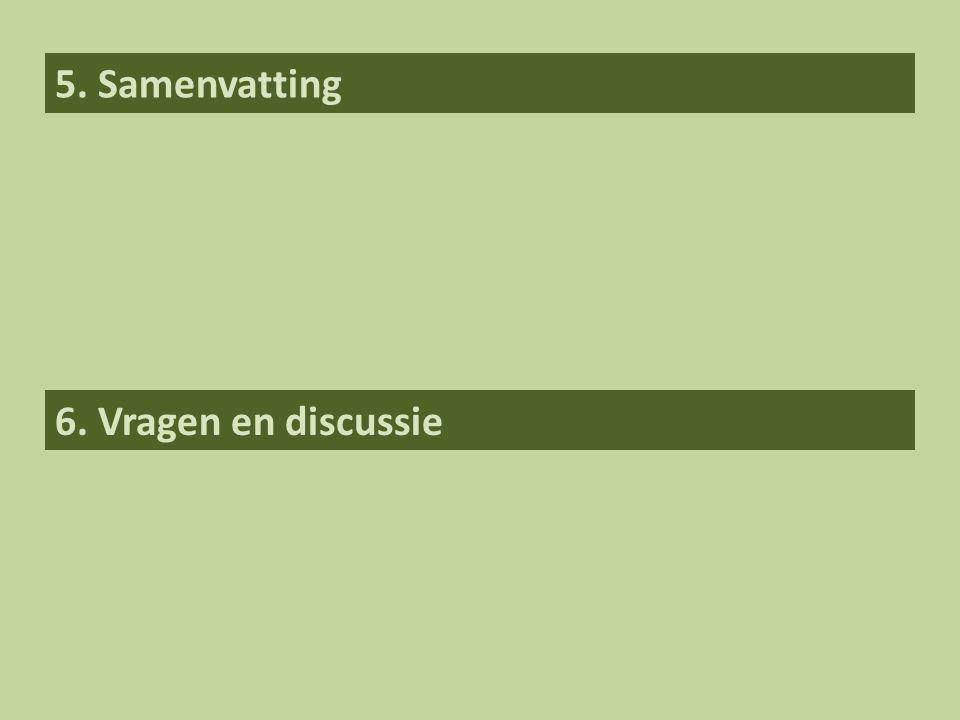 5. Samenvatting 6. Vragen en discussie