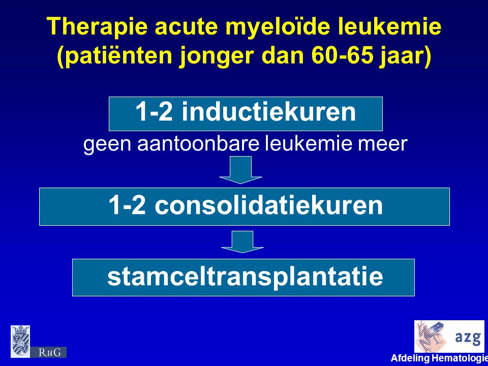Therapie acute myeloïde leukemie (patiënten jonger dan 60-65 jaar)