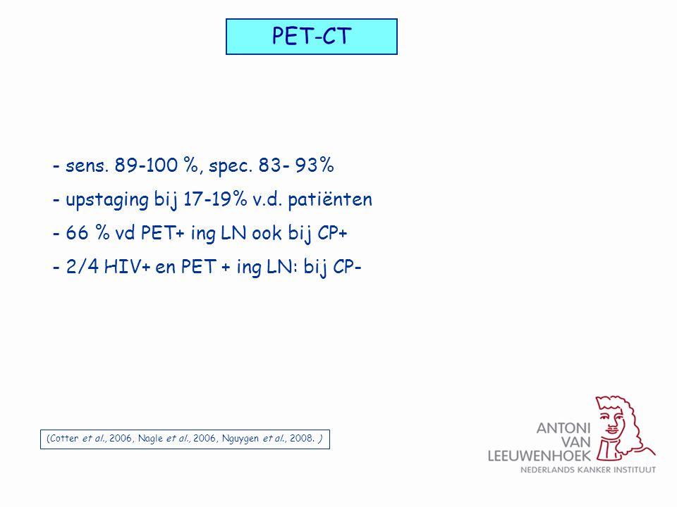 PET-CT sens. 89-100 %, spec. 83- 93% upstaging bij 17-19% v.d. patiënten. 66 % vd PET+ ing LN ook bij CP+
