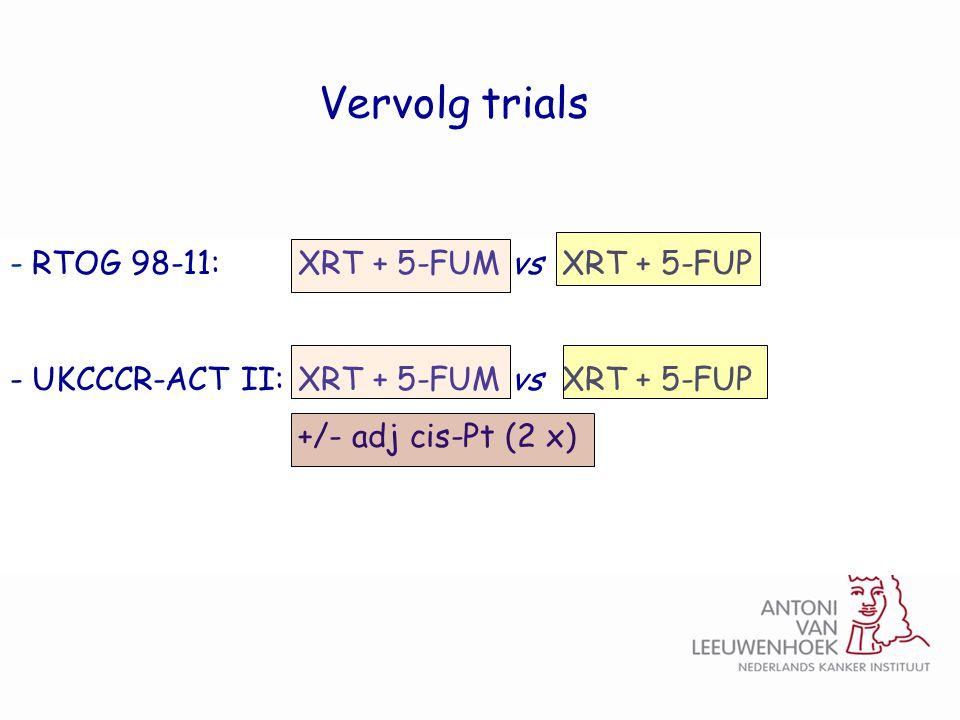 Vervolg trials RTOG 98-11: XRT + 5-FUM vs XRT + 5-FUP