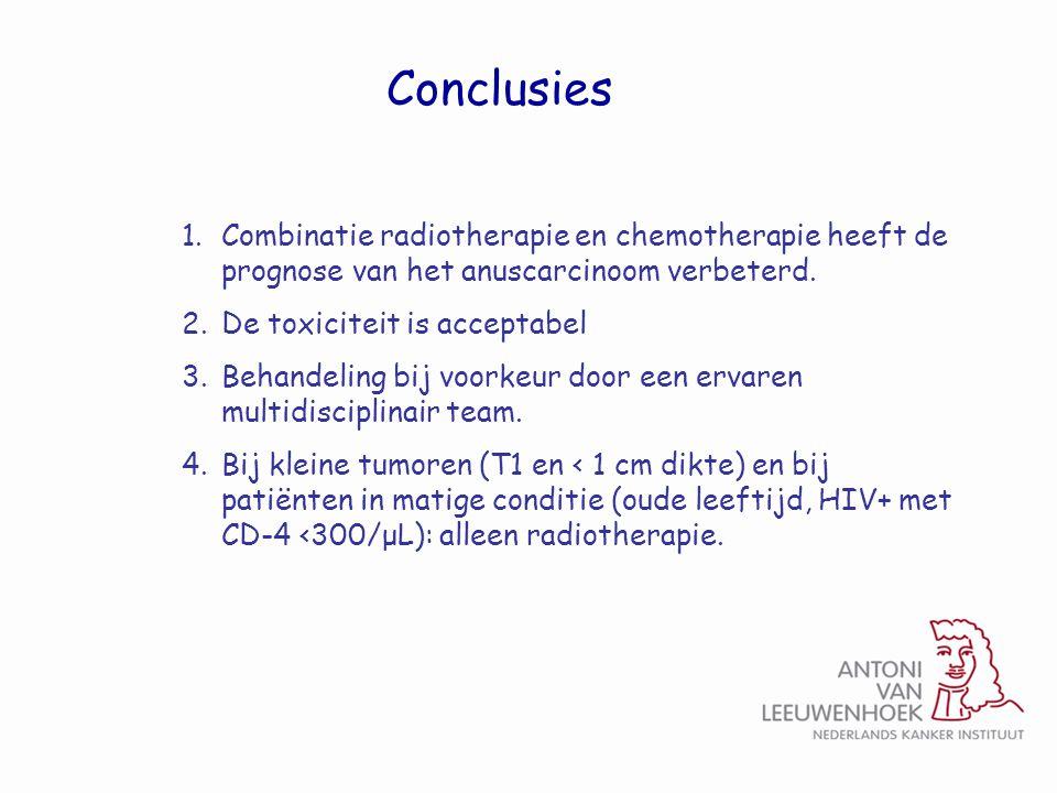 Conclusies Combinatie radiotherapie en chemotherapie heeft de prognose van het anuscarcinoom verbeterd.