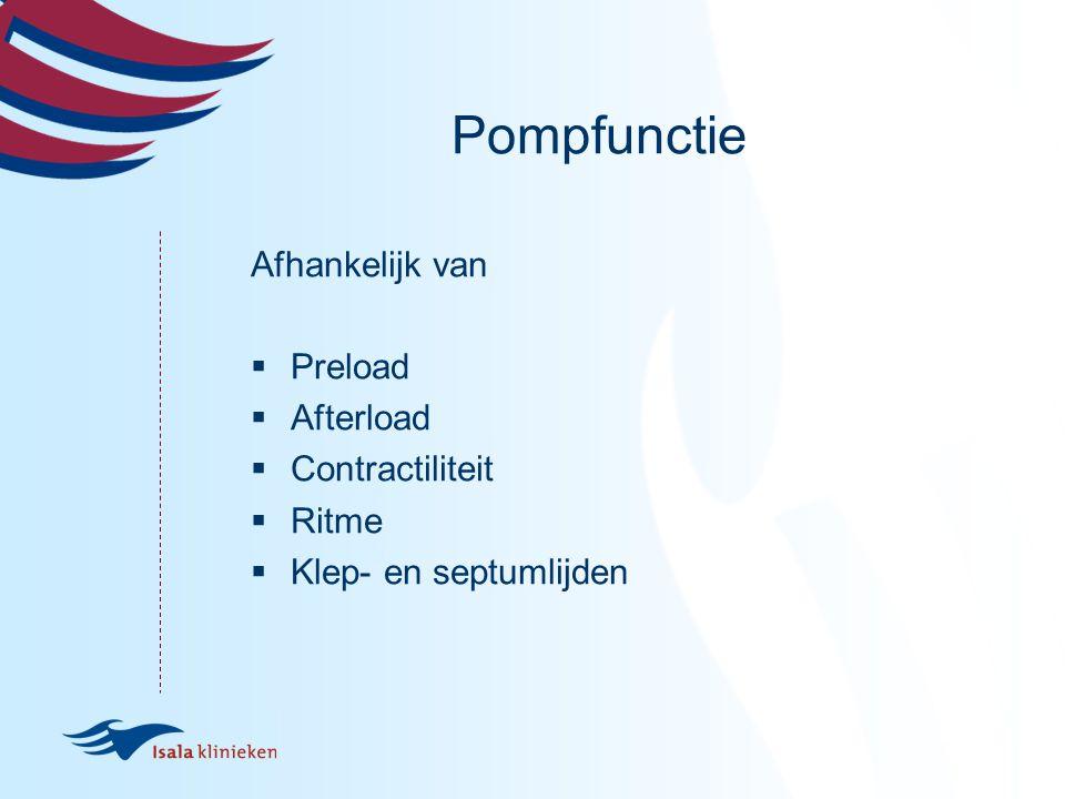 Pompfunctie Afhankelijk van Preload Afterload Contractiliteit Ritme