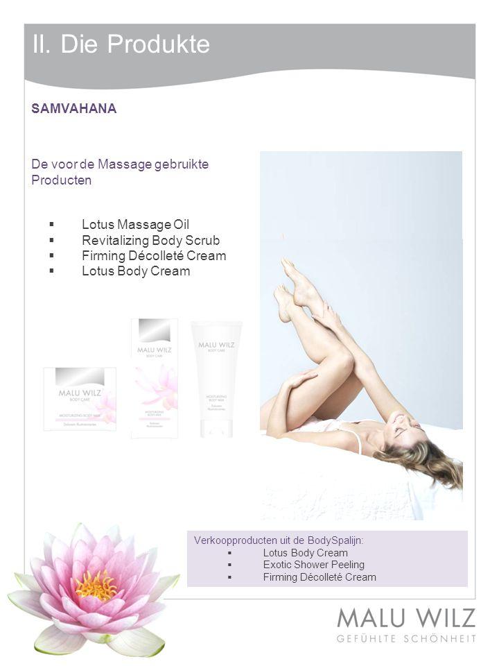 II. Die Produkte SAMVAHANA De voor de Massage gebruikte Producten
