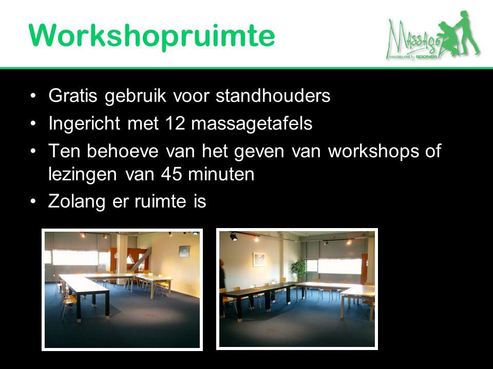 Workshopruimte Gratis gebruik voor standhouders