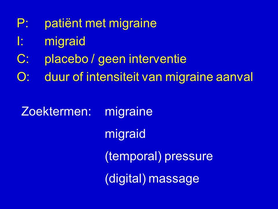 P: patiënt met migraine