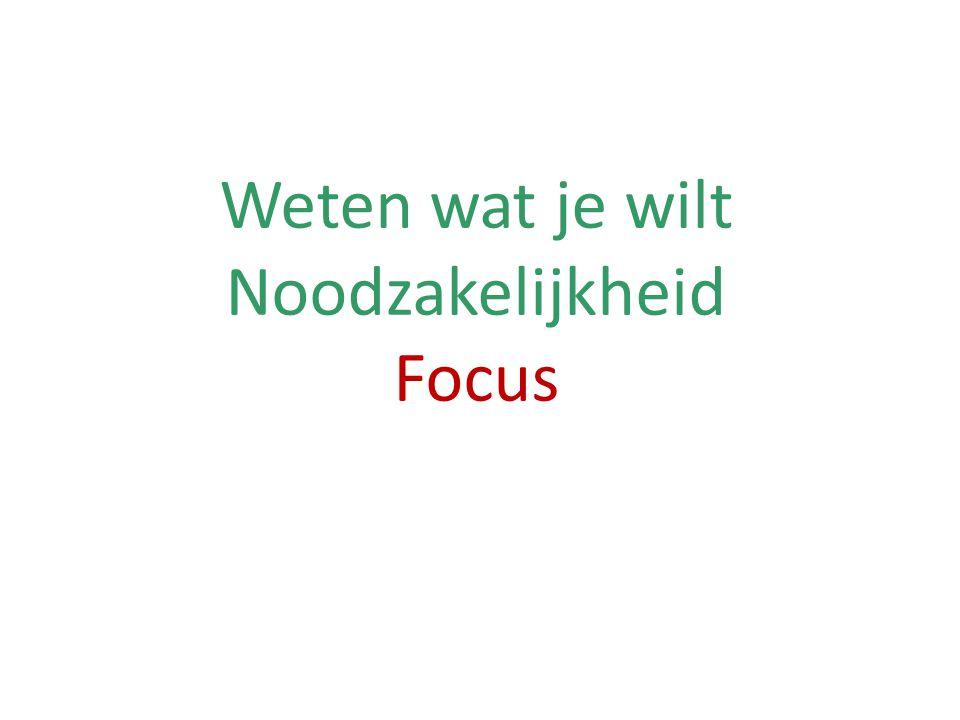 Weten wat je wilt Noodzakelijkheid Focus