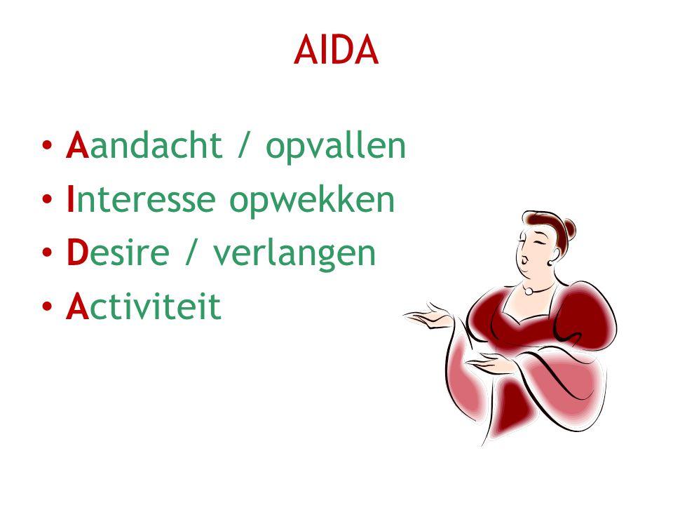 AIDA Aandacht / opvallen Interesse opwekken Desire / verlangen