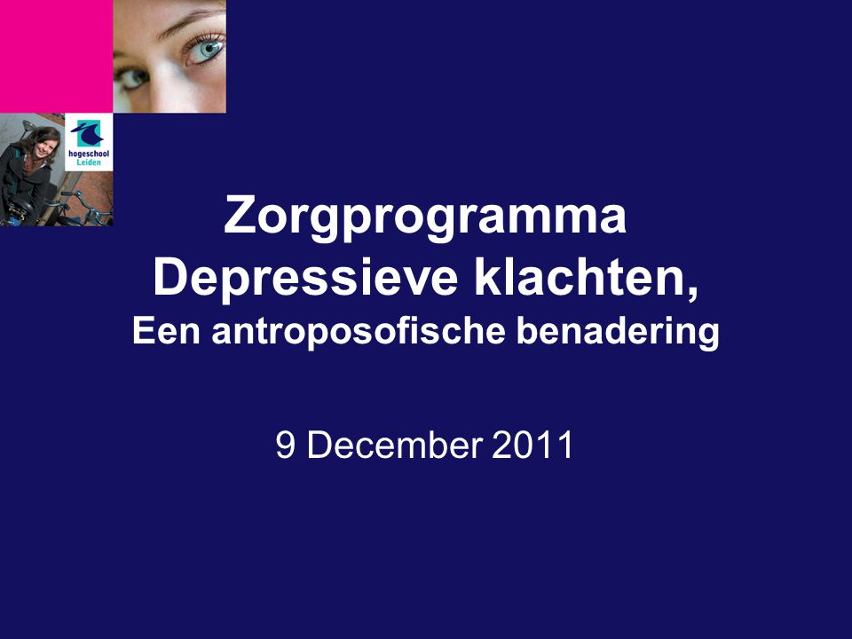 Zorgprogramma Depressieve klachten, Een antroposofische benadering