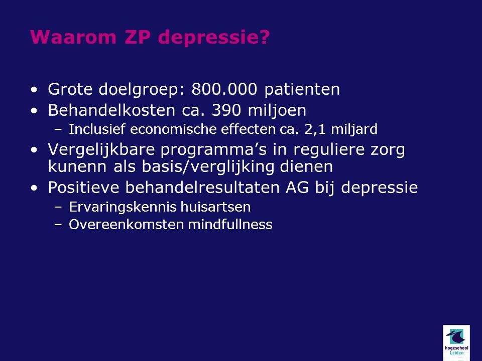 Waarom ZP depressie Grote doelgroep: 800.000 patienten