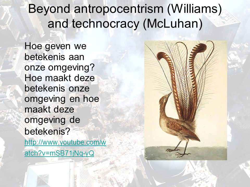 Beyond antropocentrism (Williams) and technocracy (McLuhan)