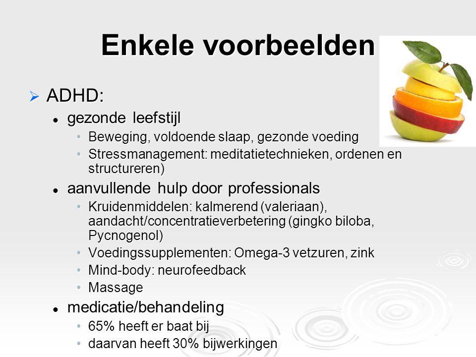 Enkele voorbeelden ADHD: gezonde leefstijl