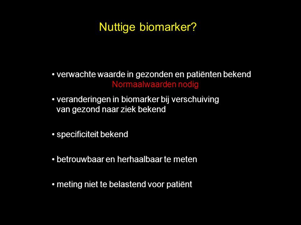 Nuttige biomarker verwachte waarde in gezonden en patiënten bekend Normaalwaarden nodig.