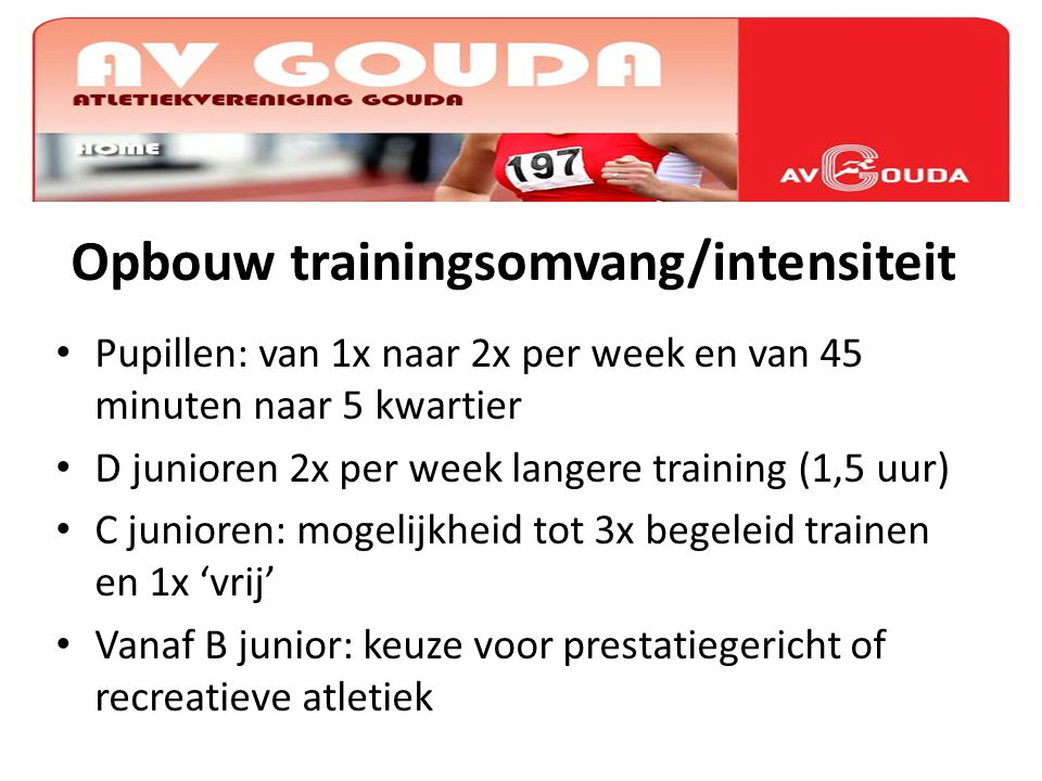 Opbouw trainingsomvang/intensiteit