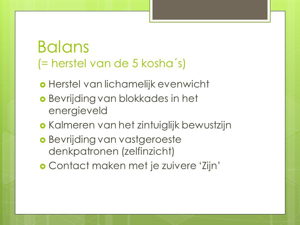 Balans (= herstel van de 5 kosha´s)