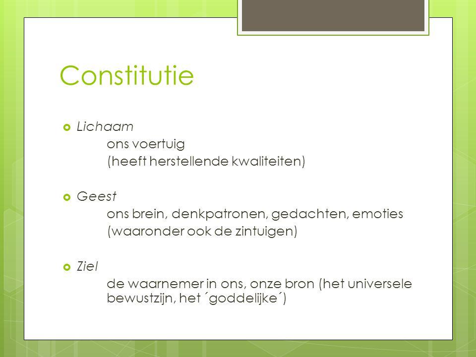 Constitutie Lichaam ons voertuig (heeft herstellende kwaliteiten)