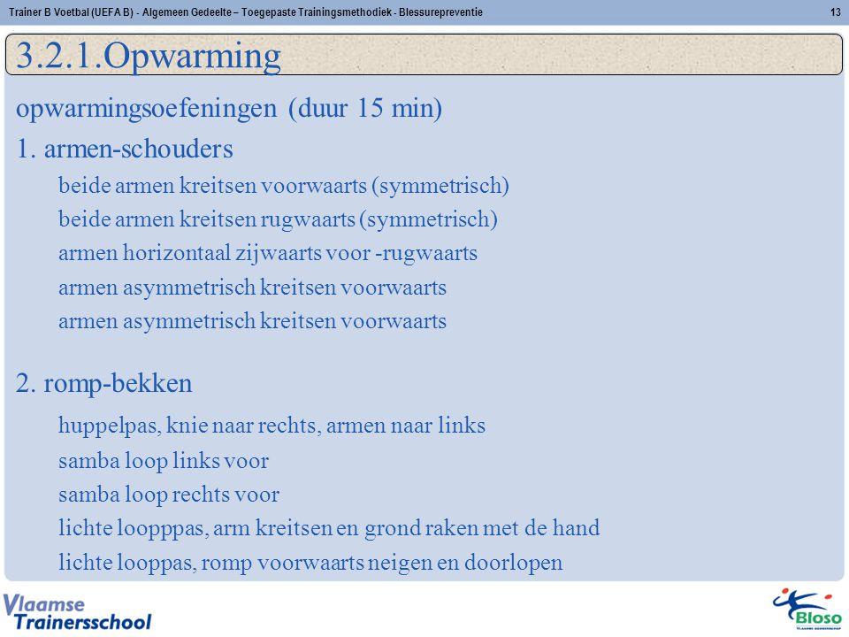 3.2.1.Opwarming opwarmingsoefeningen (duur 15 min) 1. armen-schouders