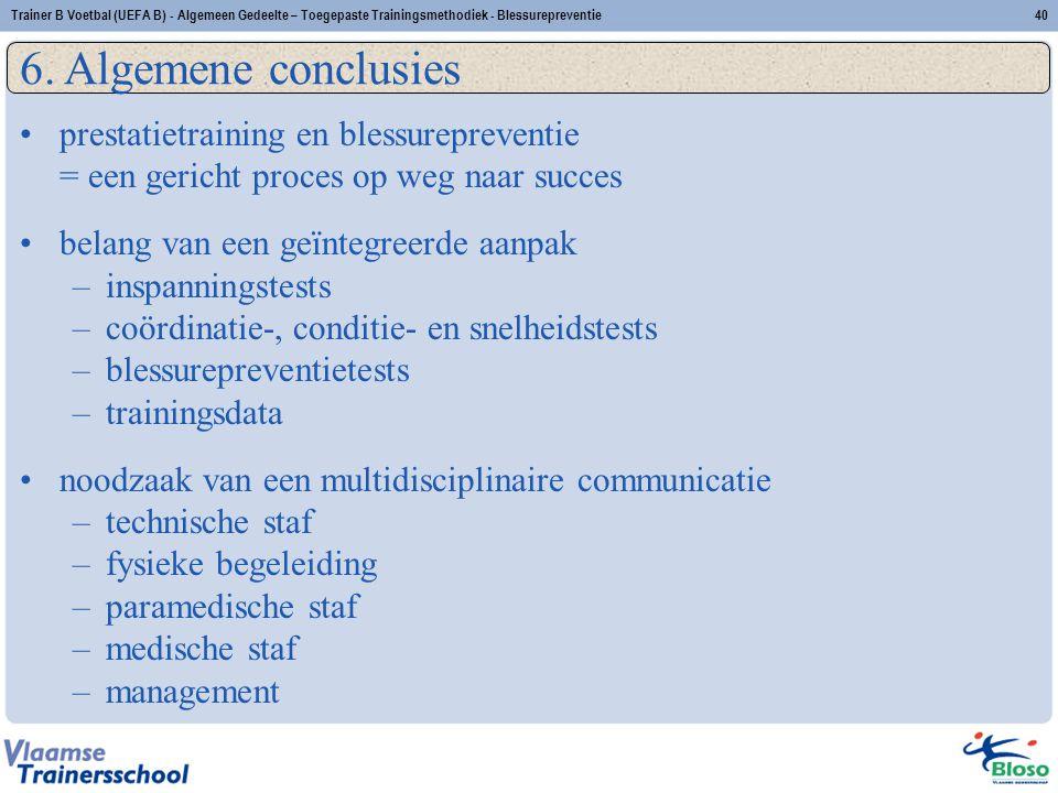 6. Algemene conclusies prestatietraining en blessurepreventie