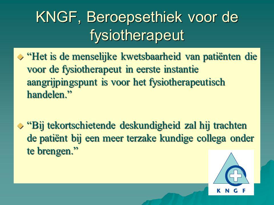 KNGF, Beroepsethiek voor de fysiotherapeut