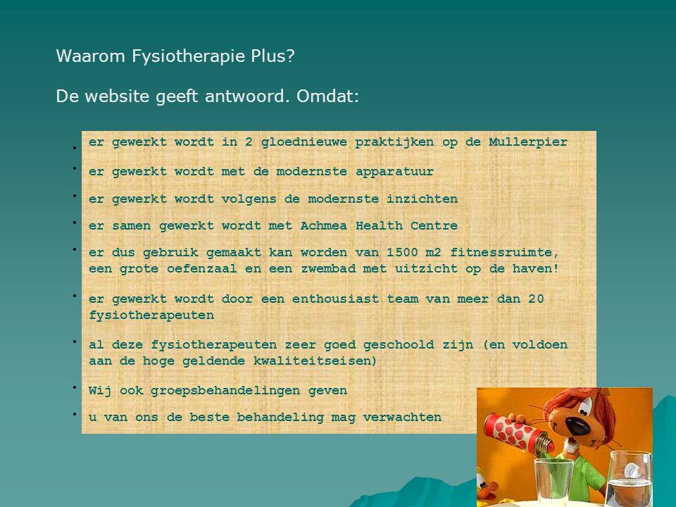 Waarom Fysiotherapie Plus De website geeft antwoord. Omdat: