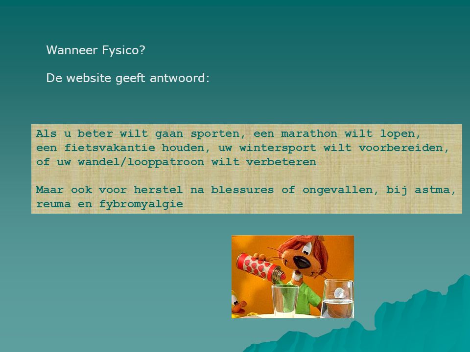 Wanneer Fysico De website geeft antwoord: Als u beter wilt gaan sporten, een marathon wilt lopen,