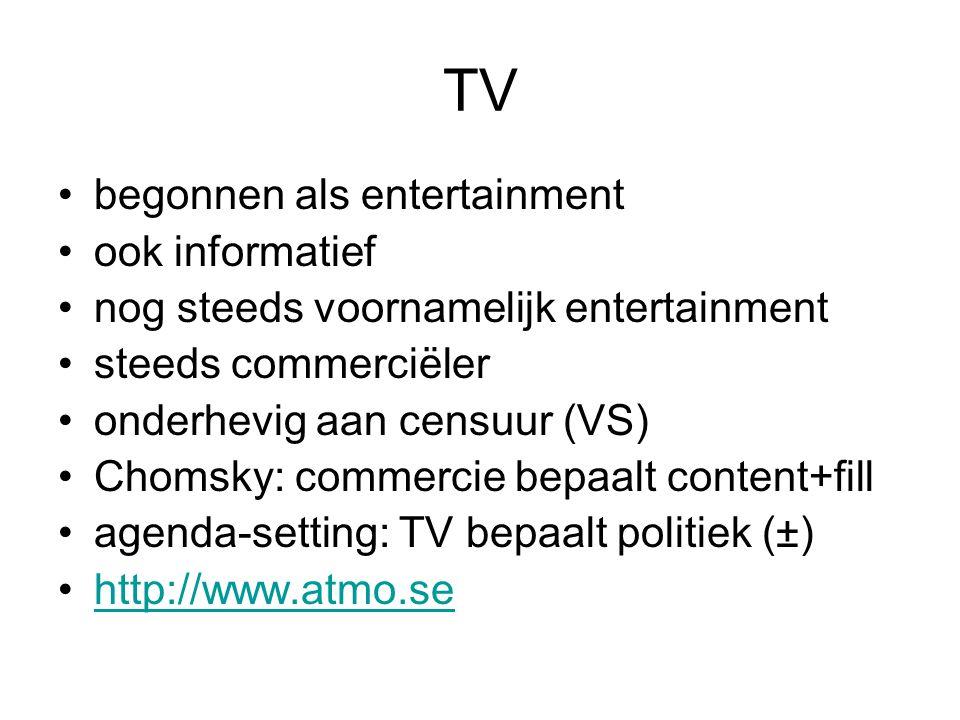 TV begonnen als entertainment ook informatief