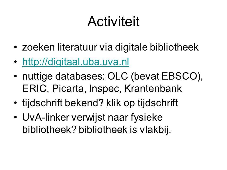 Activiteit zoeken literatuur via digitale bibliotheek