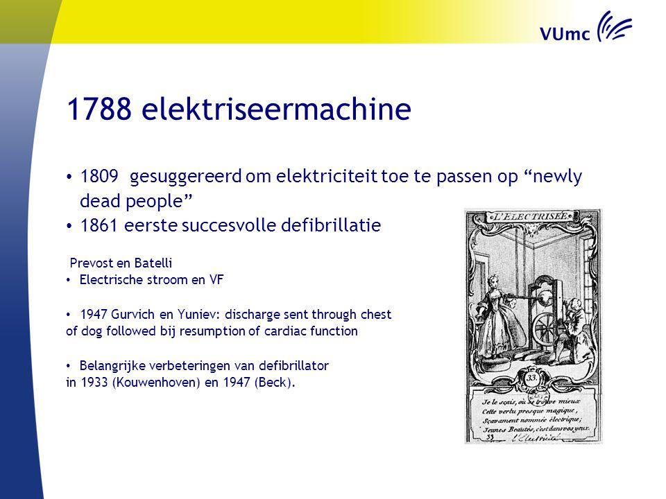 1788 elektriseermachine 1809 gesuggereerd om elektriciteit toe te passen op newly dead people 1861 eerste succesvolle defibrillatie.