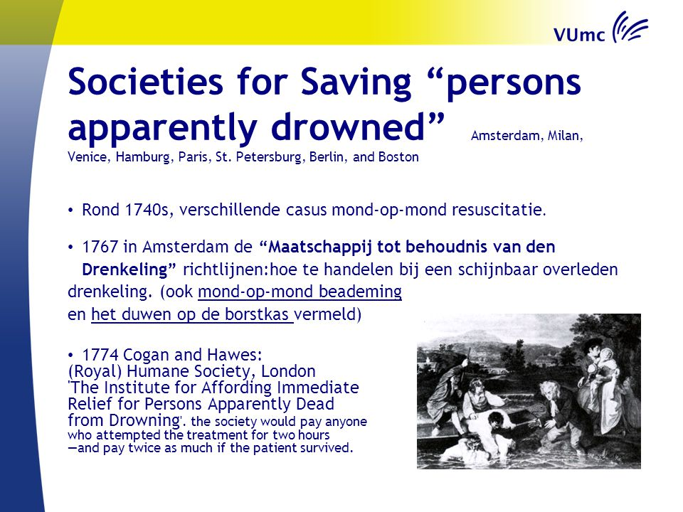 Societies for Saving persons apparently drowned Amsterdam, Milan, Venice, Hamburg, Paris, St. Petersburg, Berlin, and Boston