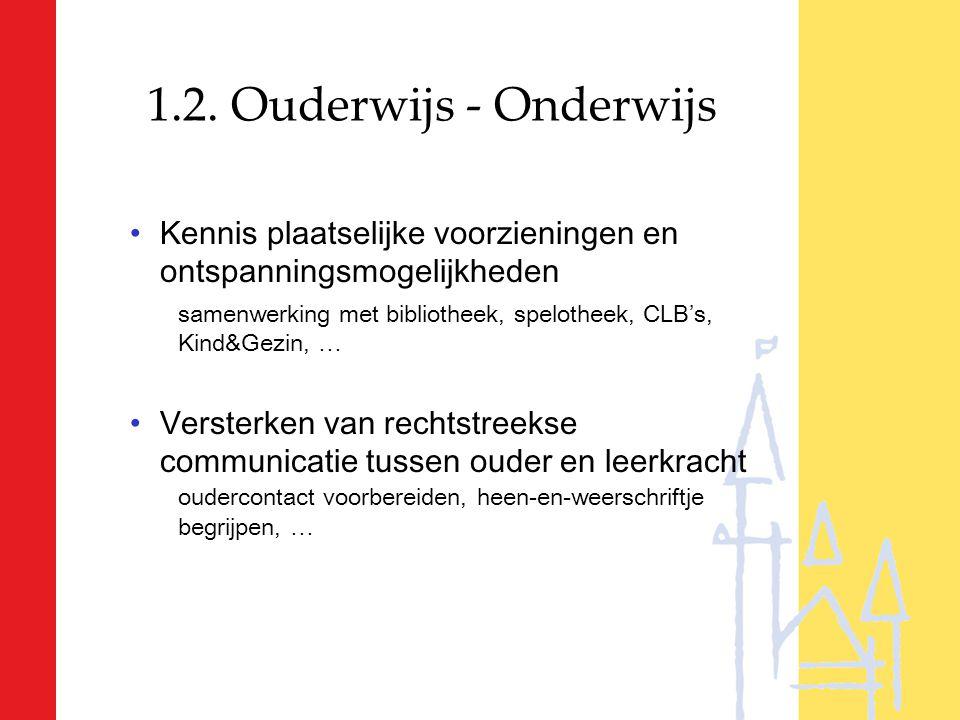 1.2. Ouderwijs - Onderwijs Kennis plaatselijke voorzieningen en ontspanningsmogelijkheden.