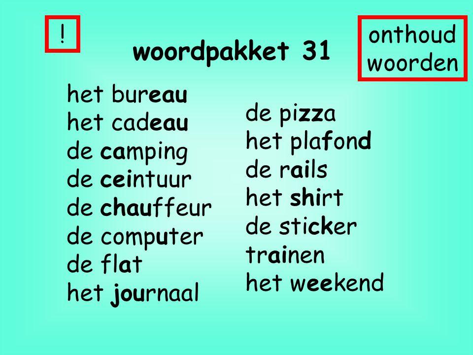 woordpakket 31 ! onthoud woorden het bureau het cadeau de camping