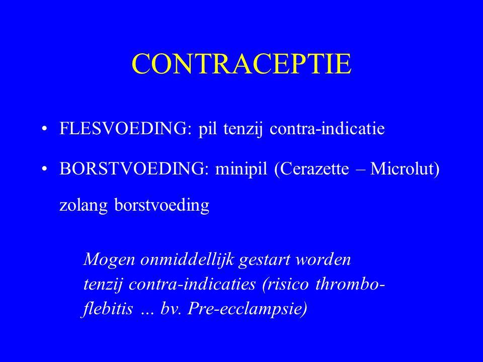 CONTRACEPTIE FLESVOEDING: pil tenzij contra-indicatie