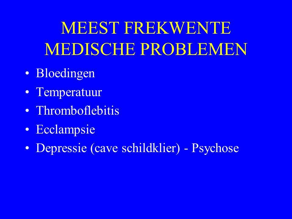 MEEST FREKWENTE MEDISCHE PROBLEMEN