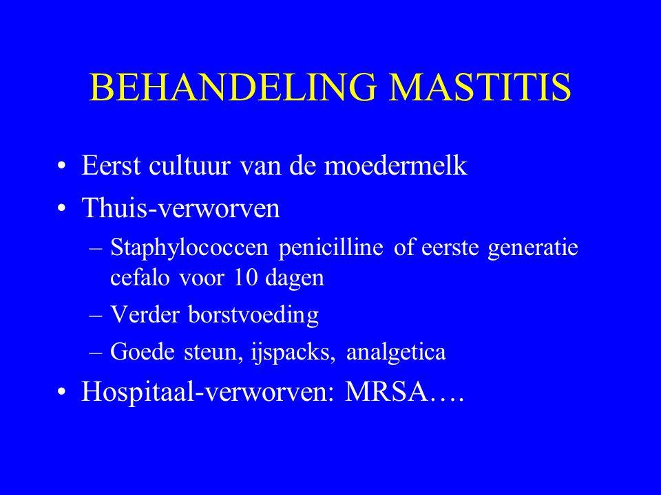 BEHANDELING MASTITIS Eerst cultuur van de moedermelk Thuis-verworven