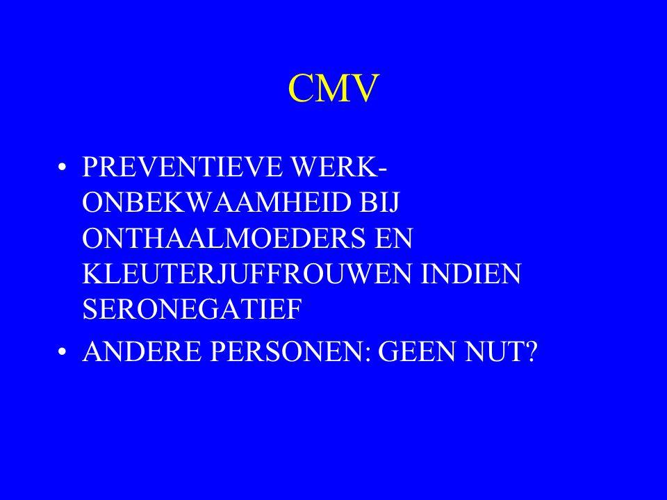 CMV PREVENTIEVE WERK-ONBEKWAAMHEID BIJ ONTHAALMOEDERS EN KLEUTERJUFFROUWEN INDIEN SERONEGATIEF.
