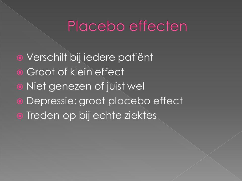 Placebo effecten Verschilt bij iedere patiënt Groot of klein effect