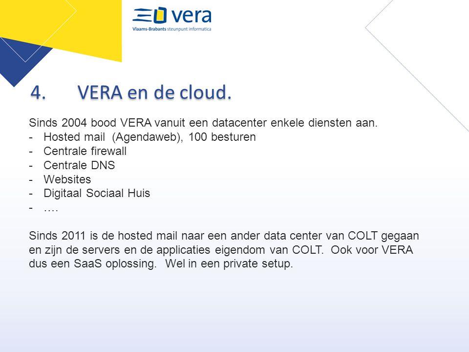 4. VERA en de cloud. Sinds 2004 bood VERA vanuit een datacenter enkele diensten aan. Hosted mail (Agendaweb), 100 besturen.