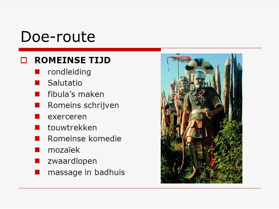 Doe-route ROMEINSE TIJD rondleiding Salutatio fibula's maken