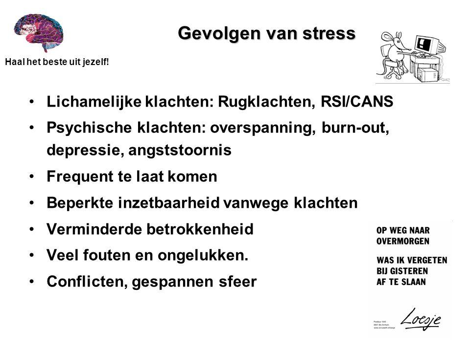 Gevolgen van stress Lichamelijke klachten: Rugklachten, RSI/CANS