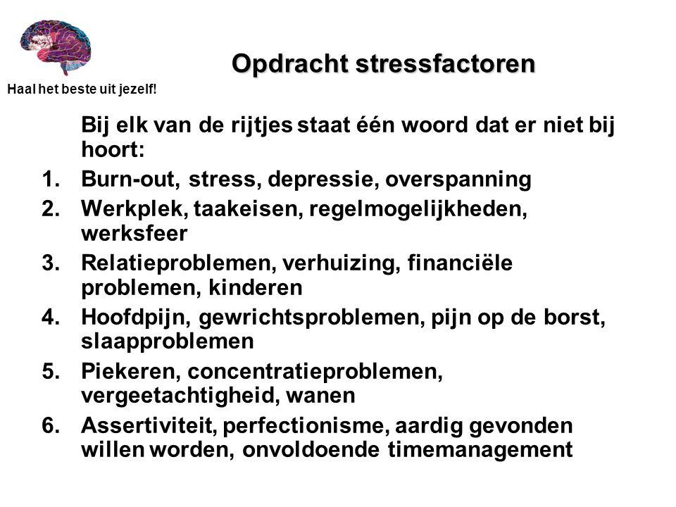 Opdracht stressfactoren