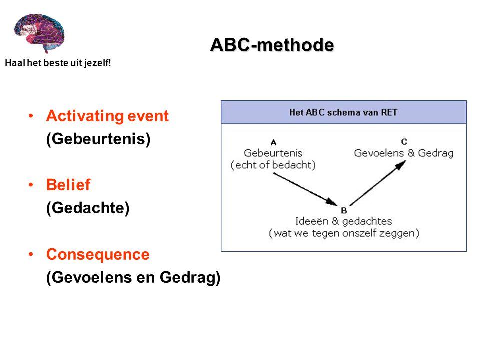 ABC-methode Activating event (Gebeurtenis) Belief (Gedachte)