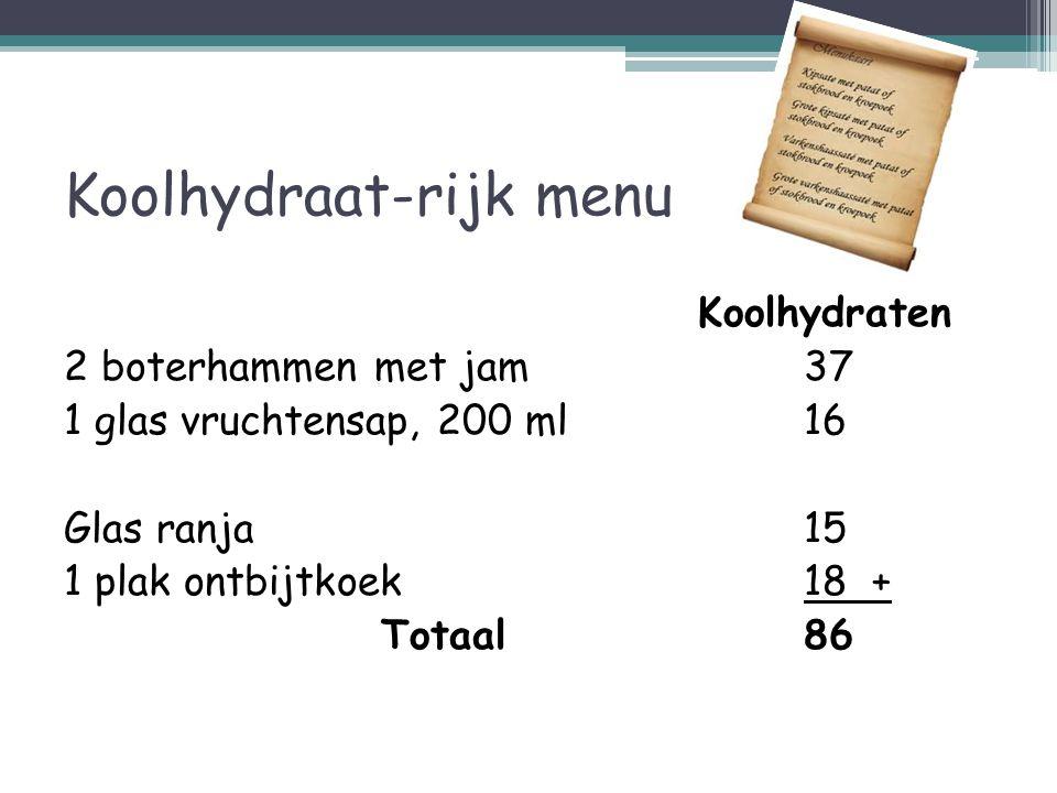 Koolhydraat-rijk menu