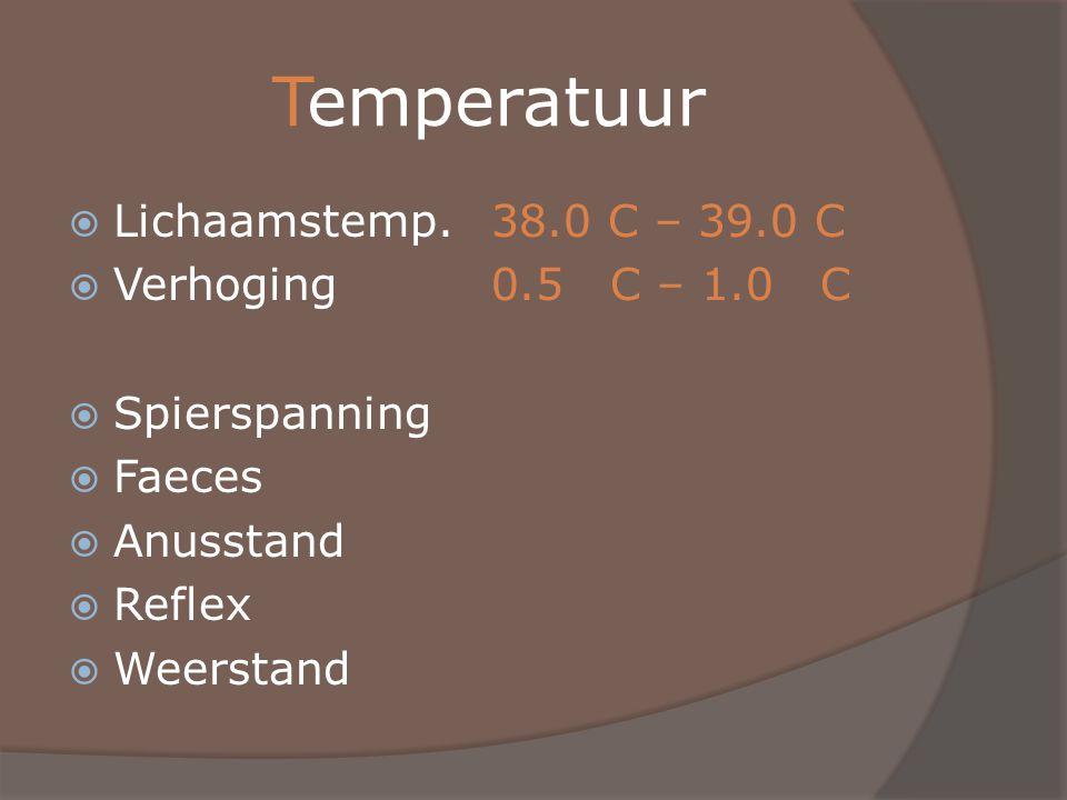 Temperatuur Lichaamstemp. 38.0 C – 39.0 C Verhoging 0.5 C – 1.0 C