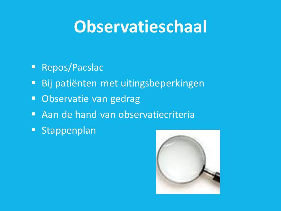 Observatieschaal Repos/Pacslac Bij patiënten met uitingsbeperkingen