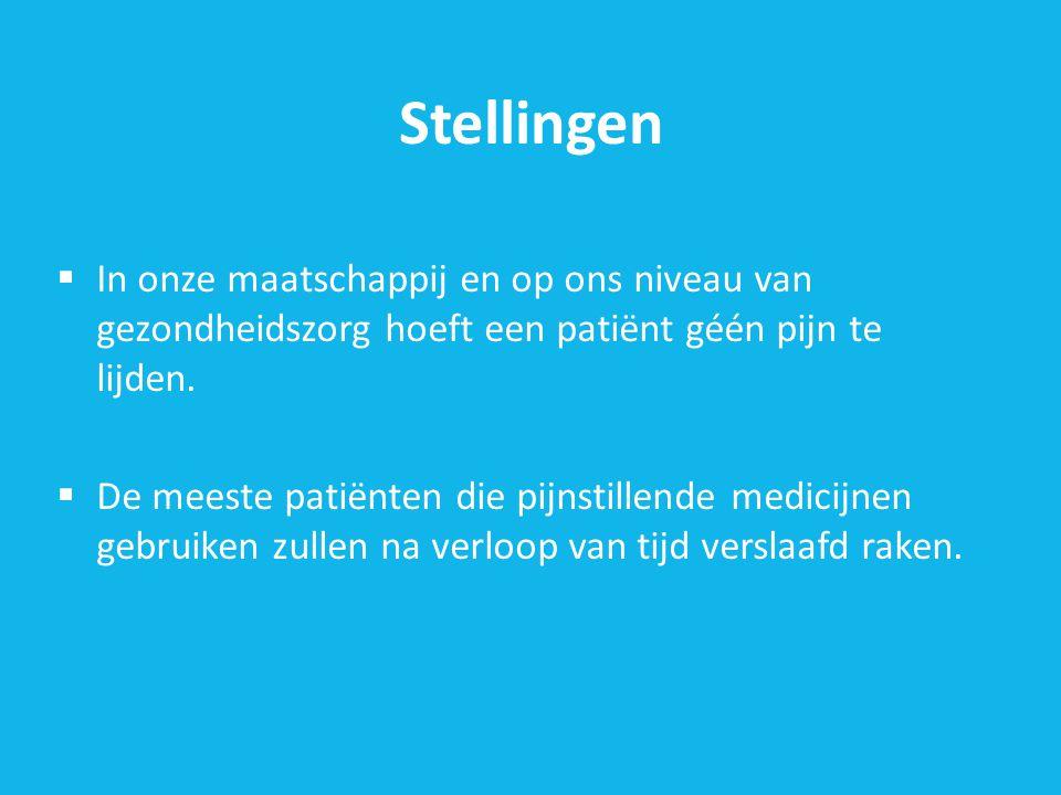 Stellingen In onze maatschappij en op ons niveau van gezondheidszorg hoeft een patiënt géén pijn te lijden.