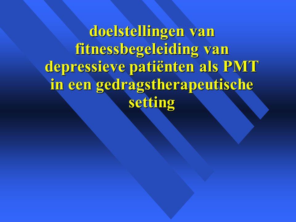 doelstellingen van fitnessbegeleiding van depressieve patiënten als PMT in een gedragstherapeutische setting