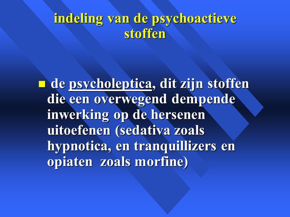 indeling van de psychoactieve stoffen