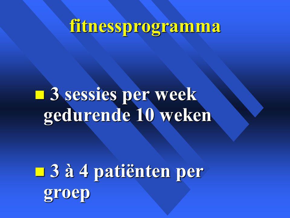fitnessprogramma 3 sessies per week gedurende 10 weken 3 à 4 patiënten per groep