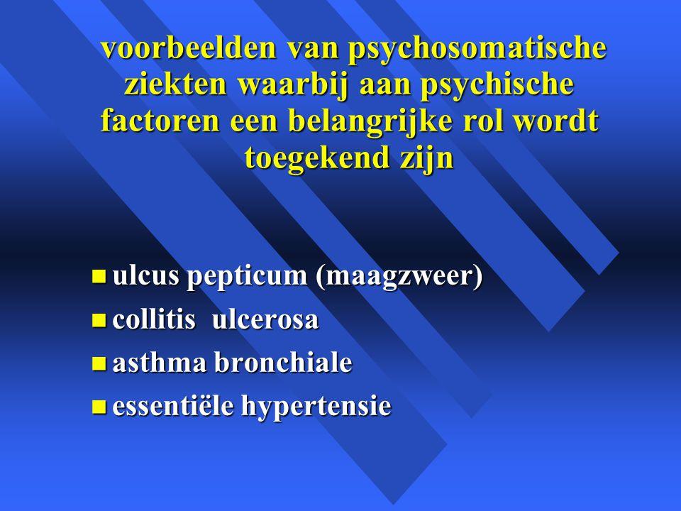 voorbeelden van psychosomatische ziekten waarbij aan psychische factoren een belangrijke rol wordt toegekend zijn