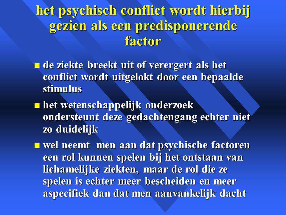 het psychisch conflict wordt hierbij gezien als een predisponerende factor